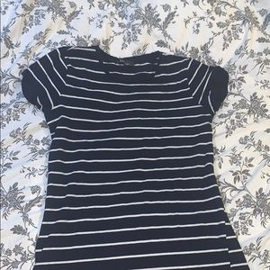 Lulu's Dresses - LuLu's Striped Navy T-shirt Dress
